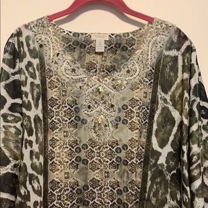 Chico's Size 1 Green and Gold Beaded V-Neck top